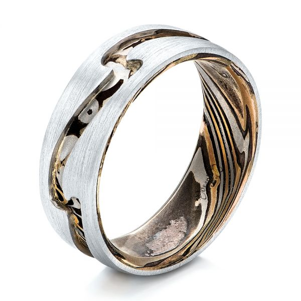Custom Men's Platinum and Mokume Wedding Band - Image