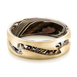 Custom Men's Platinum and Mokume Wedding Band
