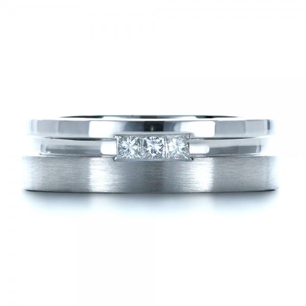 Custom Men's Princess Cut Diamond Band - Top View