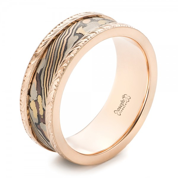 Rose Gold and Mokume Men's Wedding Band