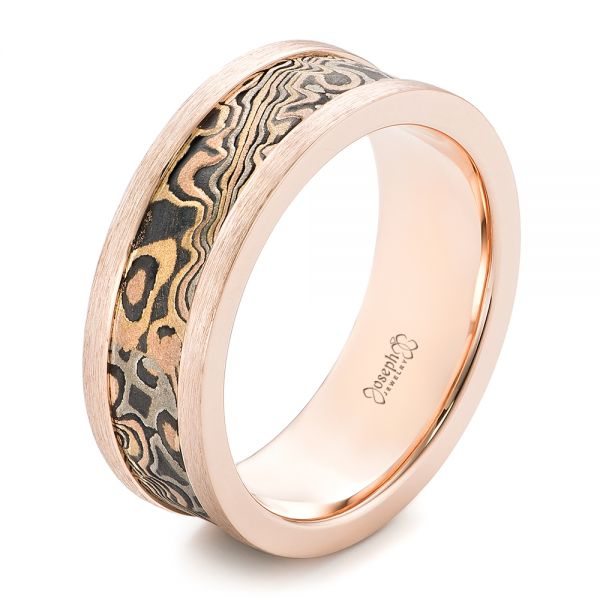 Custom Men's Rose Gold and Mokume Wedding Band - Image