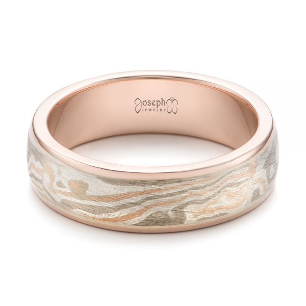 14k Rose Gold And 14K Gold Custom Men's Mokume Wedding Band - Flat View -