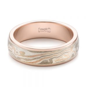 Custom Men's Rose Gold and Mokume Wedding Band