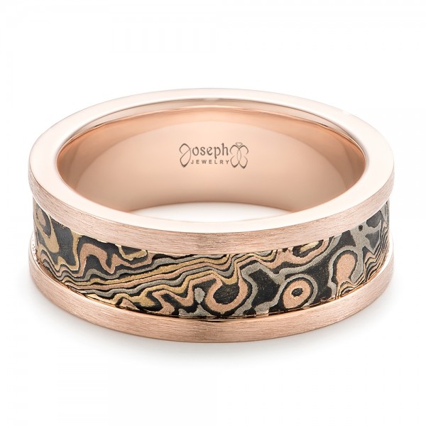 Custom Men's Rose Gold and Mokume Wedding Band - Laying View