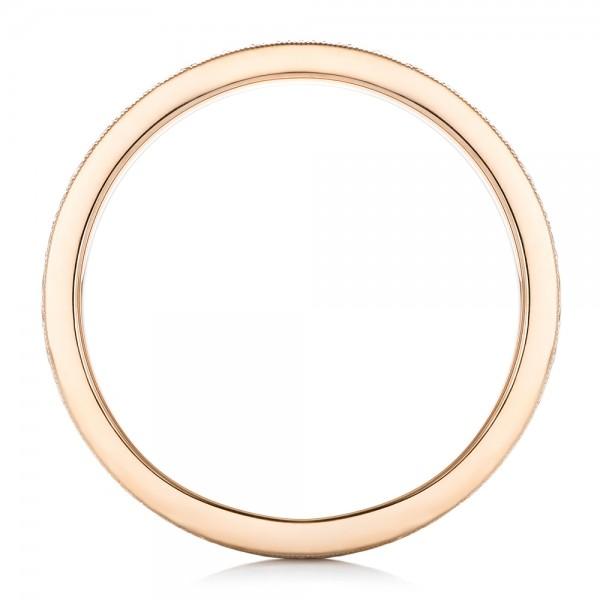 Rose Gold and Mokume Men's Wedding Band - Finger Through View
