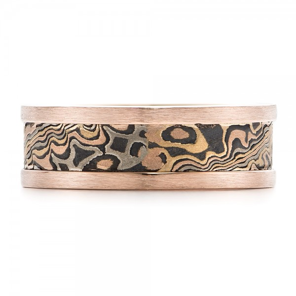 Custom Men's Rose Gold and Mokume Wedding Band - Top View