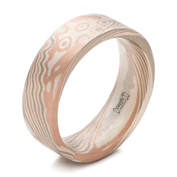 Custom Men's Sandblasted Mokume Wedding Band - Image