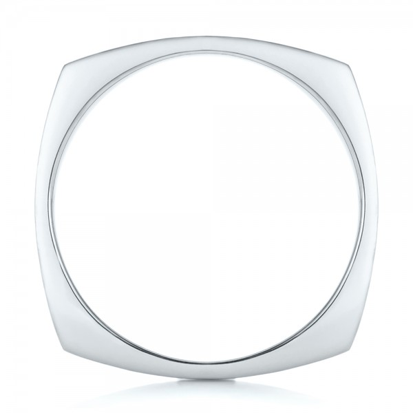 Custom Men's Squared Wedding Band - Finger Through View