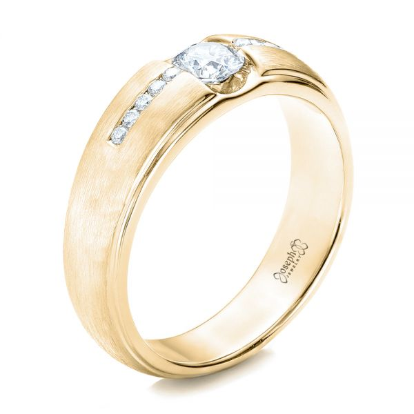 18k Yellow Gold 18k Yellow Gold Custom Men's Tension Set Diamond Wedding Band - Three-Quarter View -