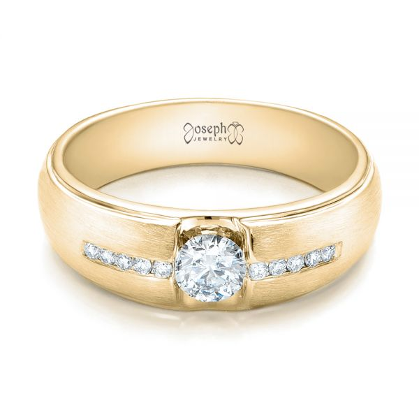 18k Yellow Gold 18k Yellow Gold Custom Men's Tension Set Diamond Wedding Band - Flat View -