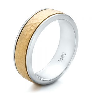 Custom Men's Two-Tone Hammered Finish Wedding Band - Image