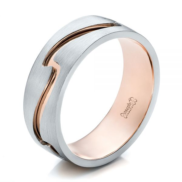 Custom Men's Two-Tone Rose Gold and Platinum Band