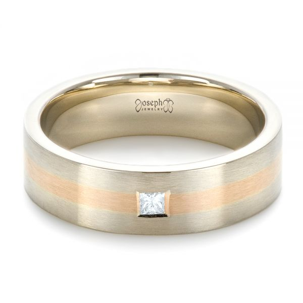 14K Gold And 18k Rose Gold Custom Men's Wedding Band - Flat View -  1417