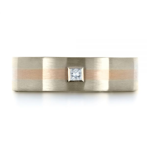 14K Gold And 18k Rose Gold Custom Men's Wedding Band - Top View -  1417