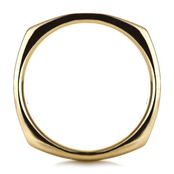 18k Yellow Gold Custom Men's Wedding Band - Front View -  1418