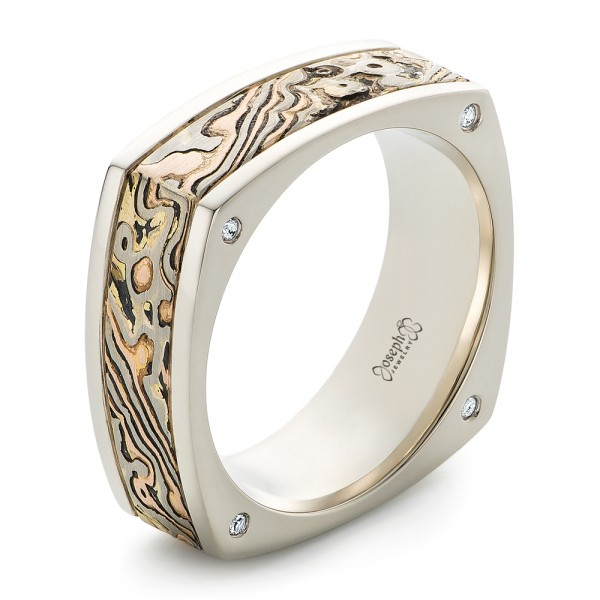 wedding custom men mokume band and bands mens white rings s gold