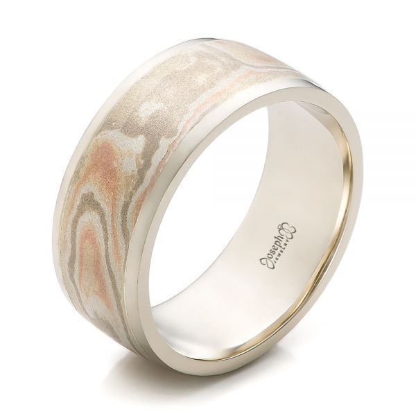 Custom Men's White Gold and Mokume Wedding Band - Image