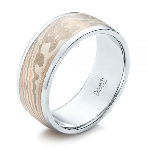 Custom Men's White Gold and Mokume Wedding Band - Three-Quarter View -  101246 - Thumbnail