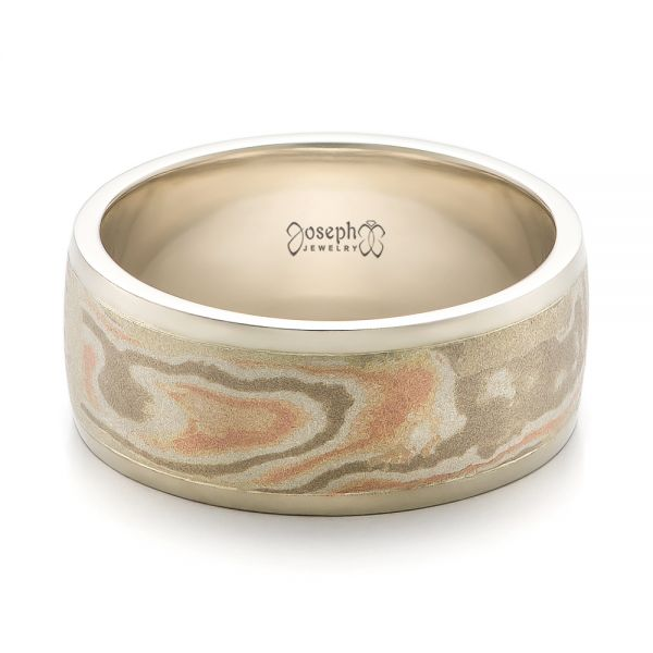 Custom Men's White Gold and Mokume Wedding Band - Flat View -  100818 - Thumbnail