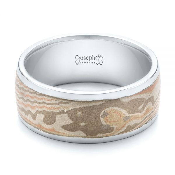 Custom Men's White Gold and Mokume Wedding Band - Flat View -  101246 - Thumbnail