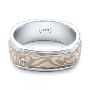 Custom Men's White Gold and Mokume Wedding Band