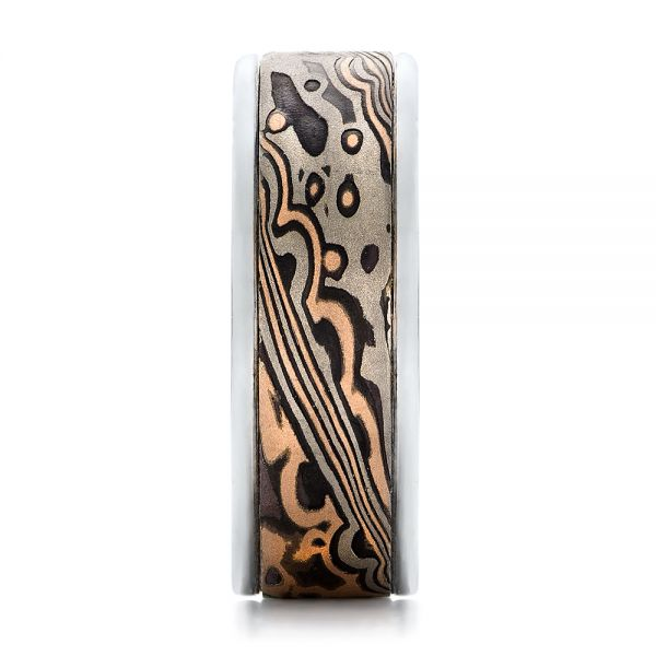 Custom Mens Mokume Wedding Band - Side View -