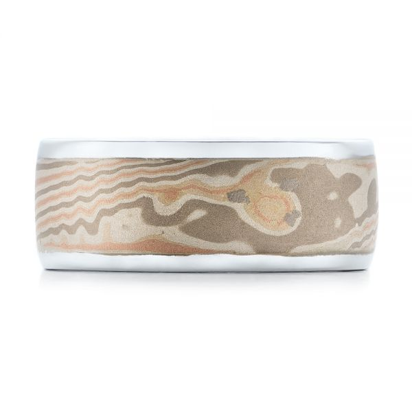 Custom Men's White Gold and Mokume Wedding Band - Top View -  101246 - Thumbnail
