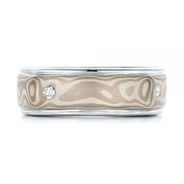Custom Men's White Gold and Mokume Wedding Band - Top View -  101265 - Thumbnail