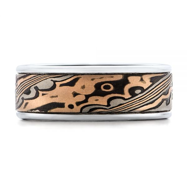 Custom Mens Mokume Wedding Band - Top View -