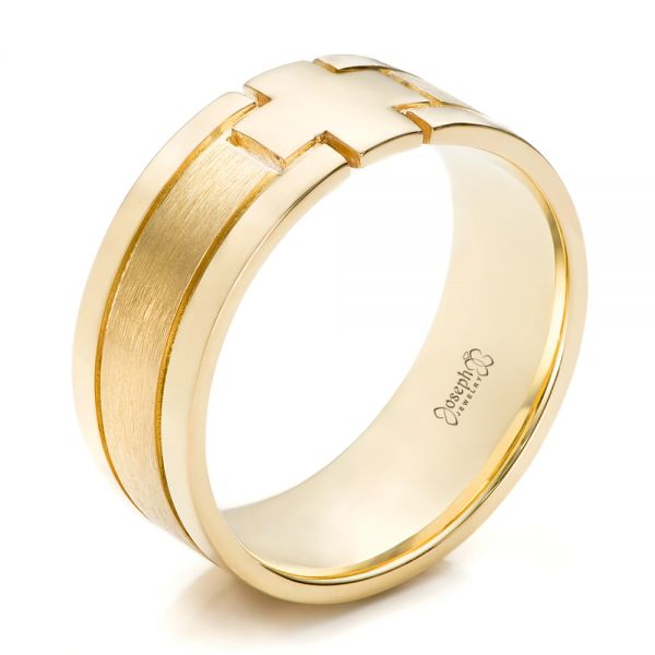 Custom Men's Yellow Gold Cross Band - Image
