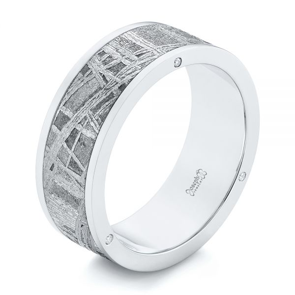 Custom Meteorite Inlay Diamond Men's Band - Image