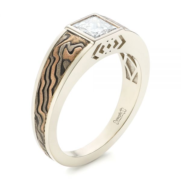 Custom Mokume Inlay Diamond Men's Wedding Band - Image