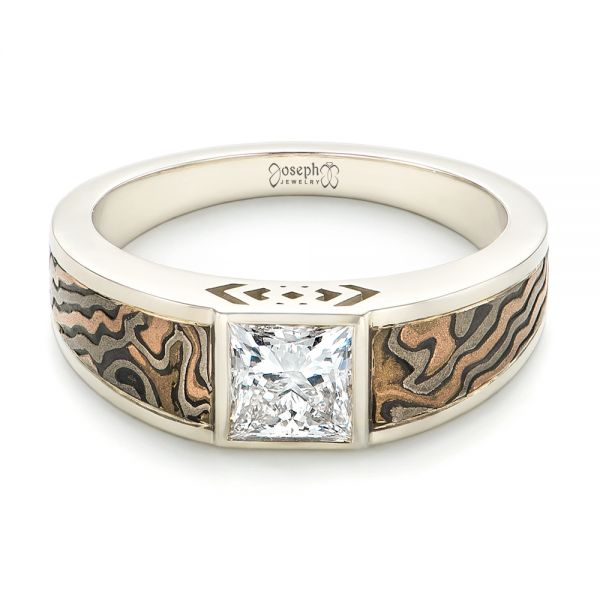 14k White Gold Custom Mokume Inlay Diamond Men's Wedding Band - Flat View -