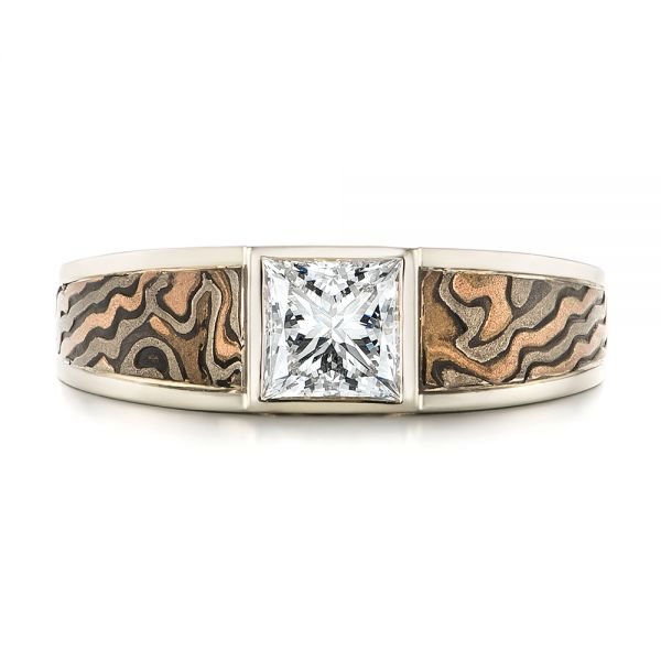 14k White Gold Custom Mokume Inlay Diamond Men's Wedding Band - Top View -