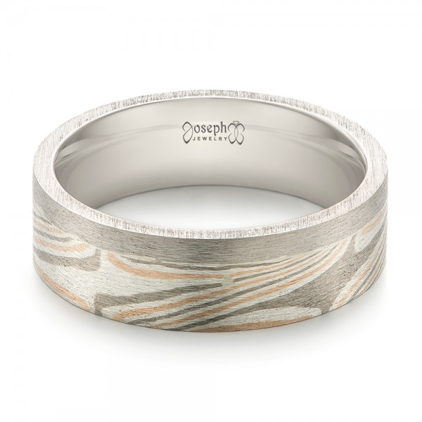 Custom Mokume Inlay Men's Band - Laying View