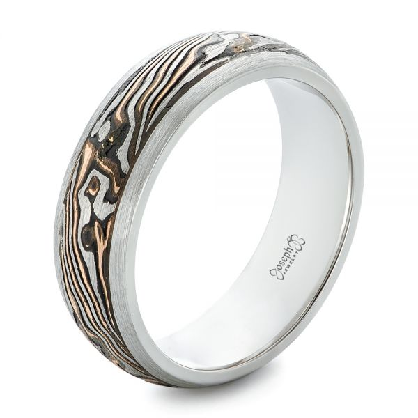 Custom Mokume Inlay Men's Wedding Band - Image