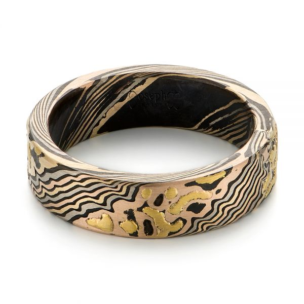 Custom Mokume Wedding Band - Flat View -  103470
