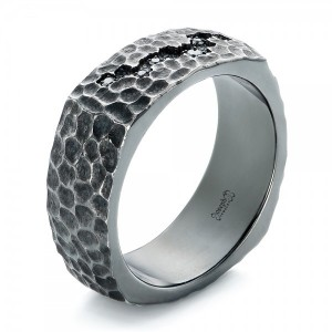 Custom Oxidized Sterling Silver Diamond Men's Band