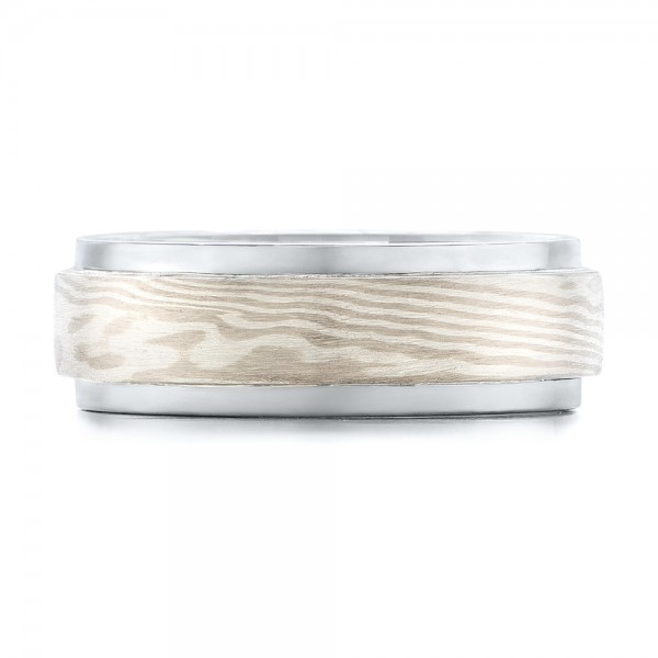 Custom Palladium and Mokume Men's Wedding Band - Top View -  102207 - Thumbnail