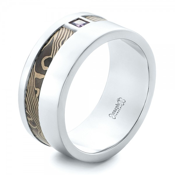 Custom Palladium and Mokume Men's Wedding Band