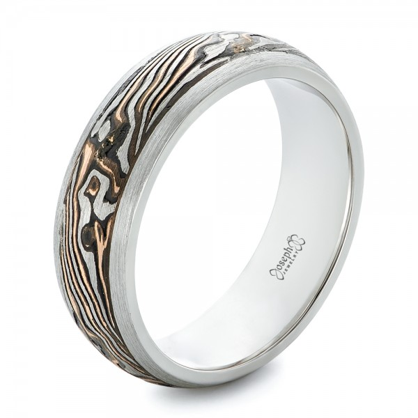custom palladium and mokume mens wedding band - Palladium Wedding Rings