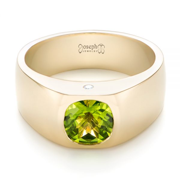 14k Yellow Gold Custom Peridot And Diamond Men's Band - Flat View -