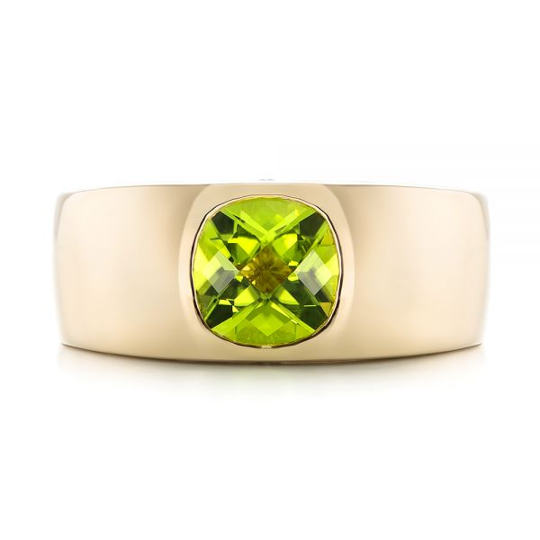 14k Yellow Gold Custom Peridot And Diamond Men's Band - Top View -