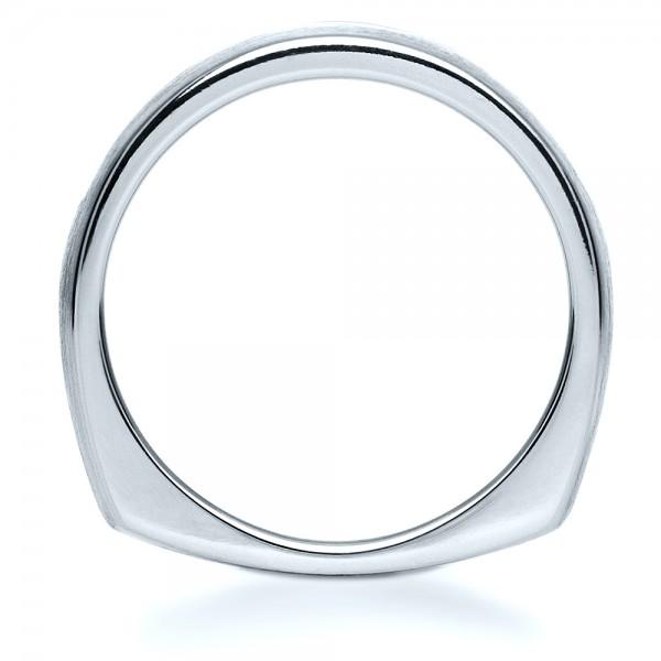 Custom Platinum Diamond Men's Band - Finger Through View