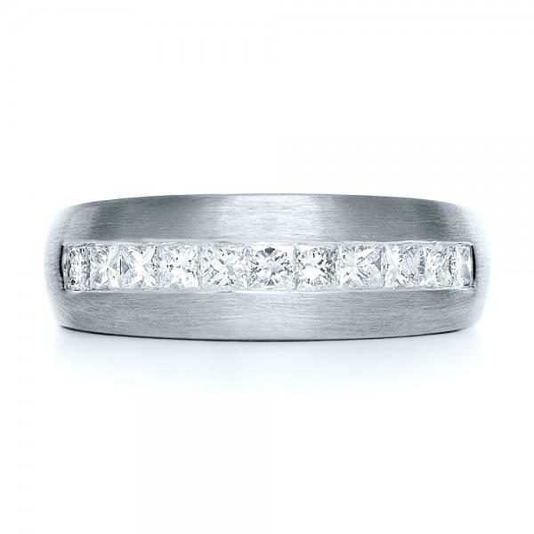 Custom Platinum Diamond Men's Band - Top View