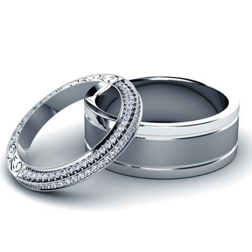 Custom Platinum and Diamond Wedding Set