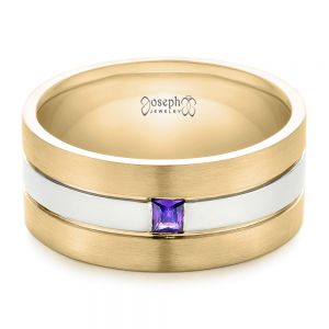 Custom Purple Sapphire Men's Wedding Band