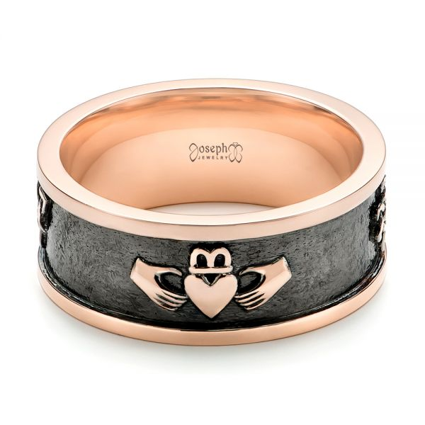 Custom Rose Gold Black Antiqued Men's Band - Flat View -  103134 - Thumbnail