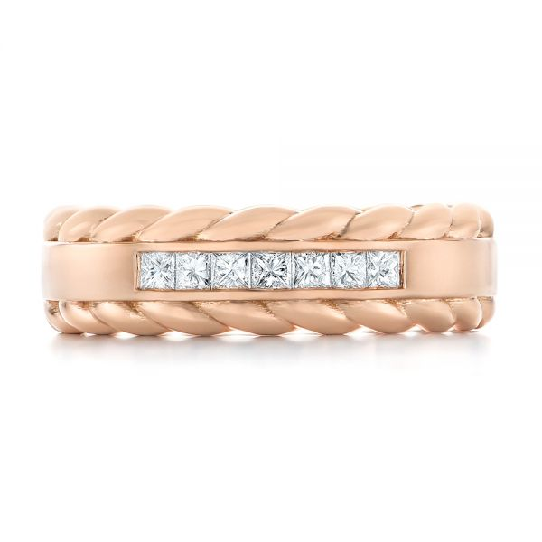 14k Rose Gold Custom Diamond Band - Top View -