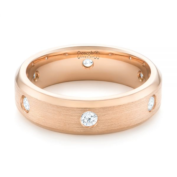 18k Rose Gold Custom Diamond Men's Wedding Band - Flat View -